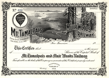 Historic image of certificate from Mt. Tamalpias Muir Woods Railway