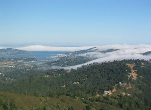 Looking towards Richardson Bay with fog rolling over hills. West Point Inn welcome title since 1904