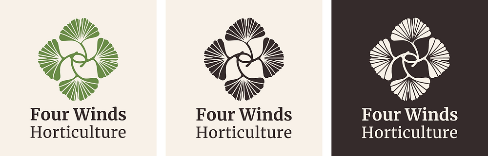 Three versions of the Four Winds Horticulture logo featuring four ginkgo leaves