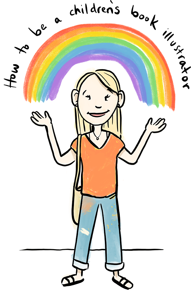 girl with rainbow over her head