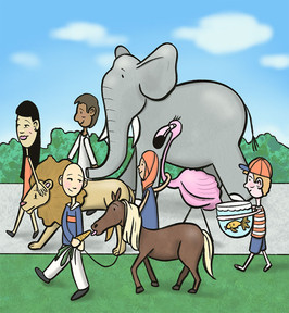 illustration of five children, elephant, horse, flamingo, lion, fish