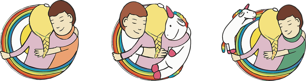 Three colourful logo concepts featuring a girl, a boy, and a stuffed unicorn toy