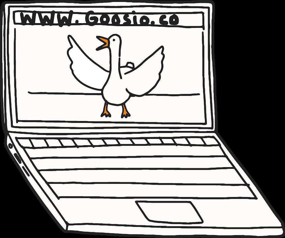 White goose with orange beak and legs on a laptop screen