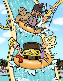 illustration of pirates chasing children on waterslide