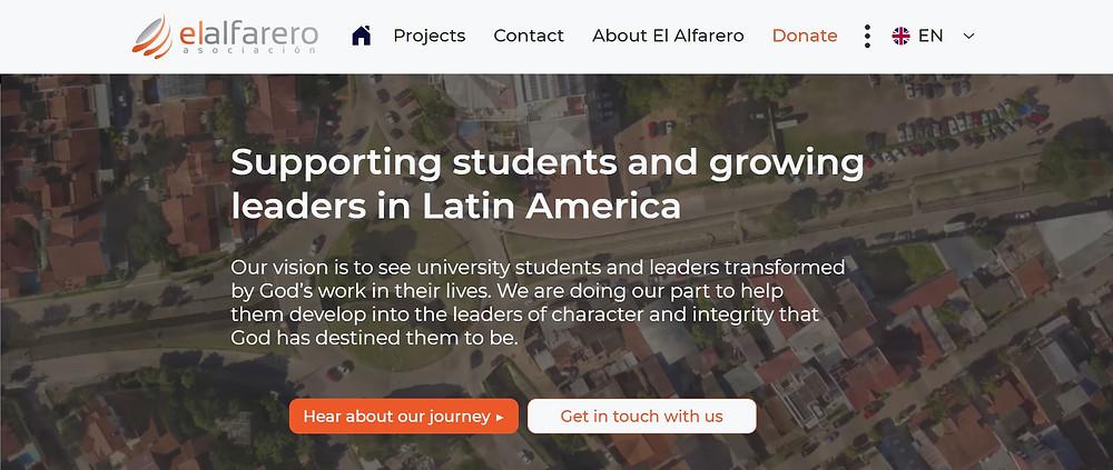 Screenshot of the El Alfarero website