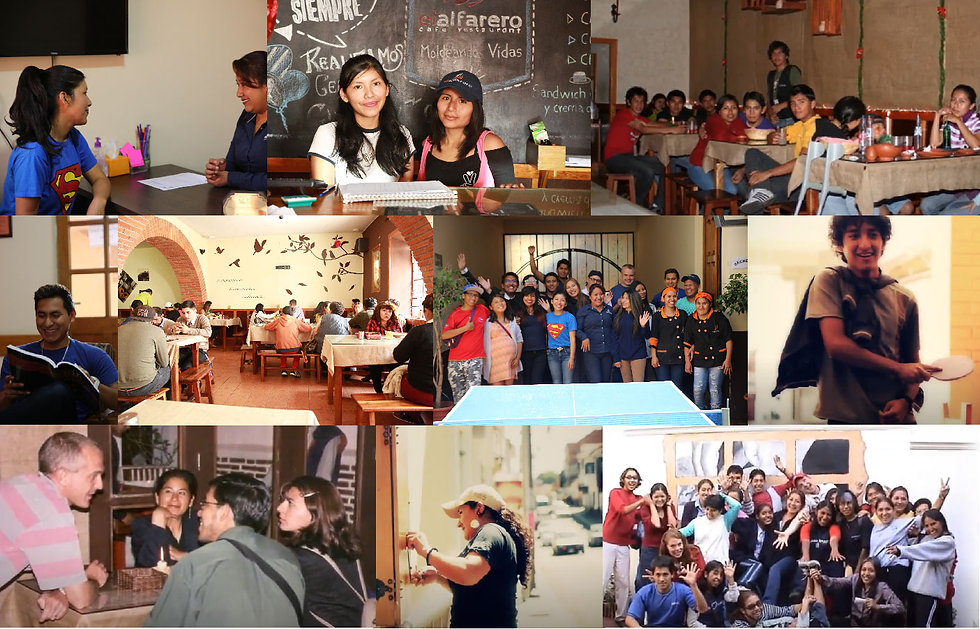 Collage of photos of volunteers and customers at El Alfarero Sucre