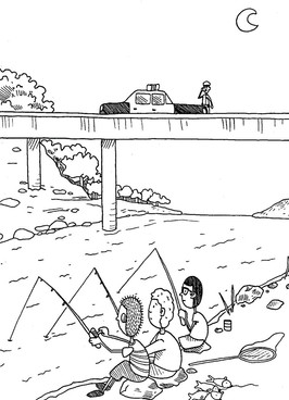 illustration of three boys fishing in a river