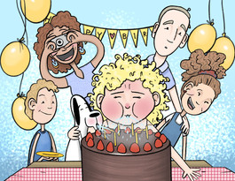 illustration of two adults and three children at a birthday party with cake