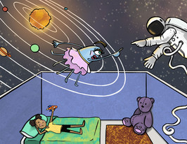 illustration of a girl in her room imagining aliens and spacemen