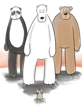 illustration of three big bears and a small mouse