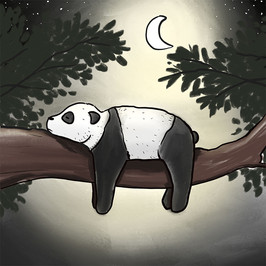 illustration of panda lying on branch at night