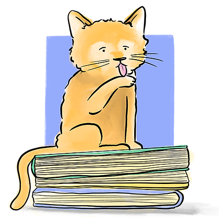 illustration of orange cat sitting on pile of books