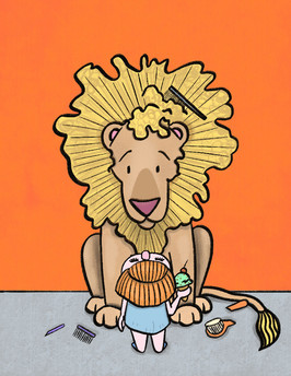 illustration of little girl and a lion