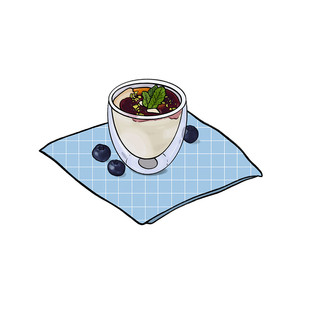 custard and berries