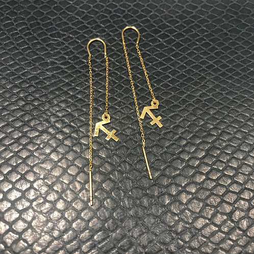 Sagittarius 925 Sterling Silver plated in Yellow Gold Zodiac Earrings