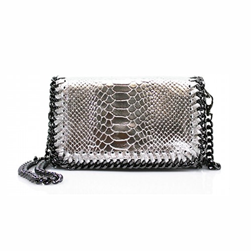 Sant Antoni Clutch/Cross Body Chain Bag - Silver