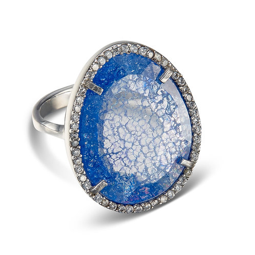 Luciana Sterling Silver Blue Chalcedony Cocktail Ring