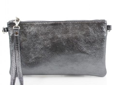 San Jordi - Dark Silver Metallic Leather Clutch Bag