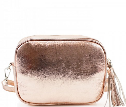 Cala Conta - Rose Gold Leather Cross Body Bag