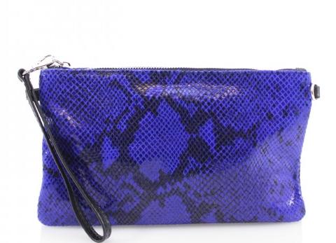 Cala Moli - Electric Blue Snake Skin Leather Clutch
