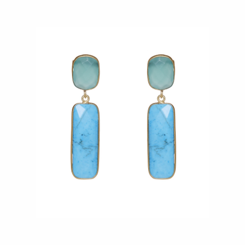 Laguna Earrings - Aqua Chalcedony & Turquoise