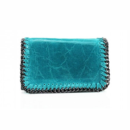 Sant Antoni Clutch/Cross Body Chain Bag - Turquoise
