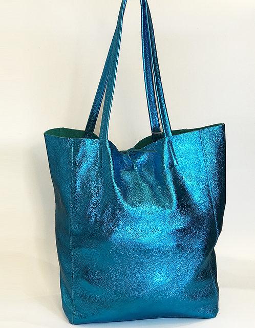 Cala Gracio Tote - Metallic Turquoise