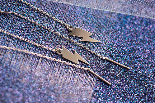 Bowie Flash Symbol Sterling Silver Earrings