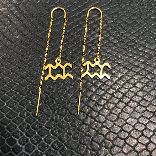 Aquarius 925 Sterling Silver plated in Yellow Gold Zodiac Earrings