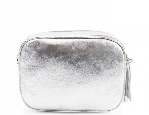 Cala Conta - Silver Leather Cross body Bag