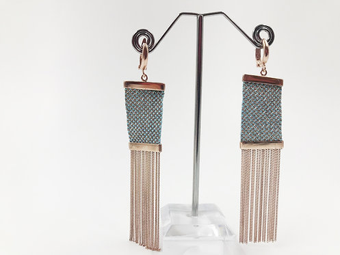 Alejandra Rose Gold Plated Sterling Silver Mesh Earrings (Aqua)