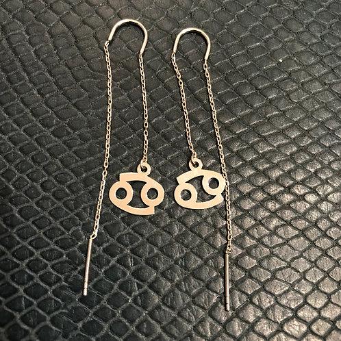 Cancer 925 Sterling Silver Zodiac Earrings