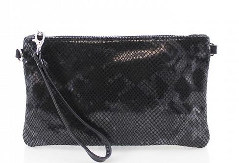 Cala Moli - Black Snake Skin Leather Clutch