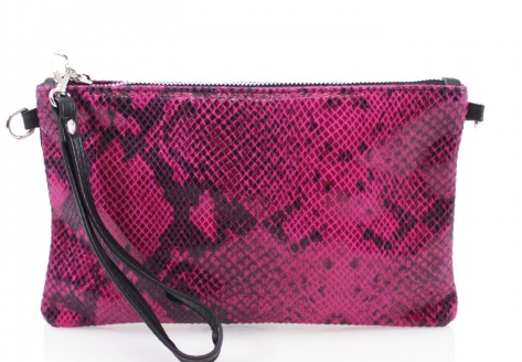 Cala Moli - Fuchsia Snake Skin Leather Clutch