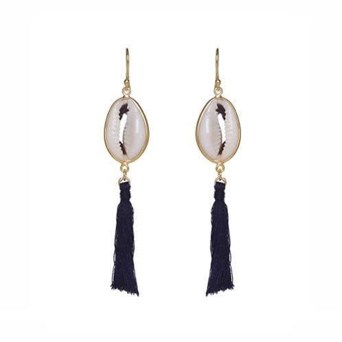 Concha Earrings - Navy