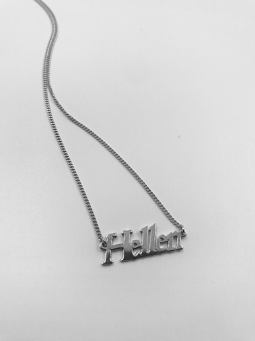 9ct White Gold Signature Name Necklace