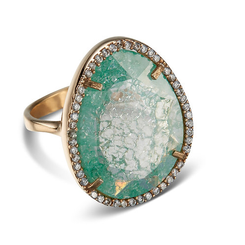 Luciana Yellow Gold Plated Sterling Silver Jade Green Cocktail Ring