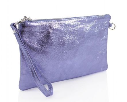 San Jordi - Blue Metallic Leather Clutch Bag
