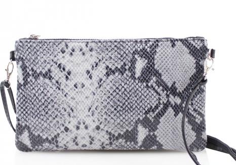 Cala Moli - Grey Snake Skin Leather Leather Clutch