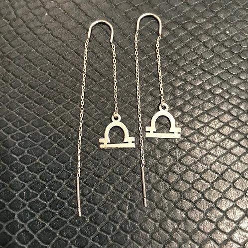 Libra 925 Sterling Silver Zodiac Earrings
