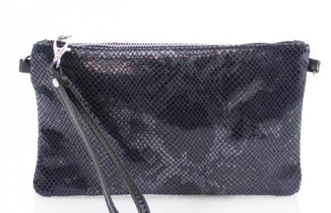Cala Moli - Navy Snake Skin Leather Clutch
