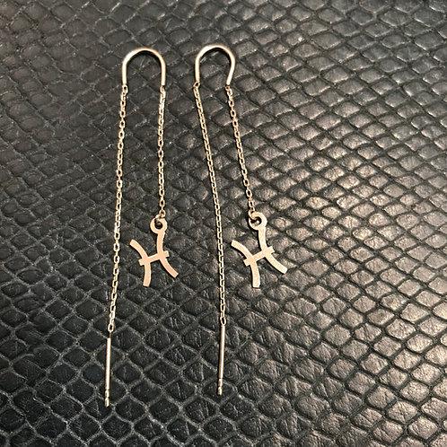 Pisces 925 Sterling Silver Zodiac Earrings