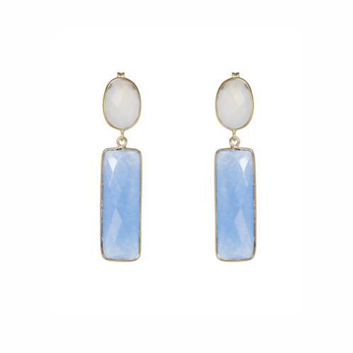 Laguna Earrings - White Chalcedony & Light Blue Jade