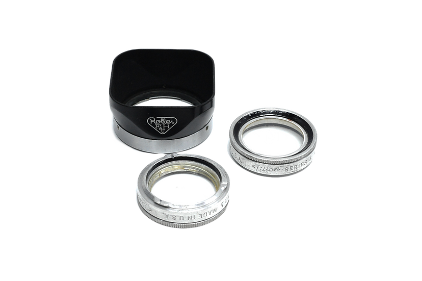 Sonnenblende Lens Hood for Twin Lens Rollei and Two f/3.5 Tiffen Adapter Rings