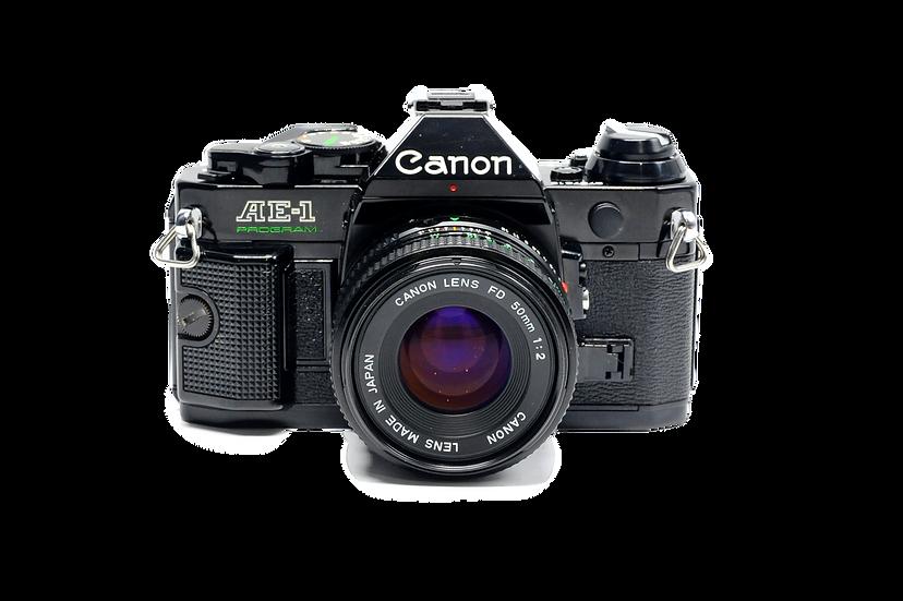 Canon AE-1 Program Black Film Camera with 50mm f/2 FD Lens