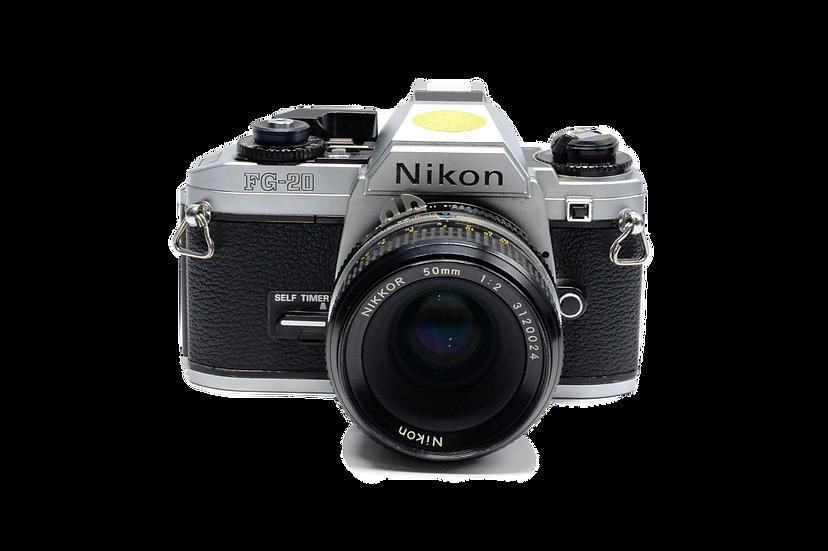 Nikon FG-20 Film Camera with 50mm f/2 Nikkor Lens