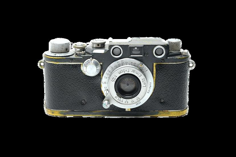 Leitz Leica IIIC K W.H. 3.5/5cm WH Elmar Grey with Brown Case