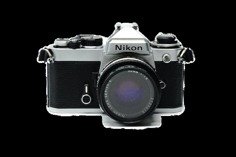 Nikon FE Film Camera with 50mm f/1.8 E Nikkor AIS Lens