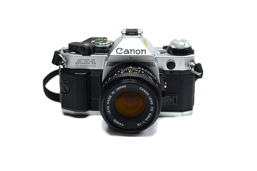 Canon AE-1 Program Film Camera with 50mm f/1.8 FD Lens and Flash