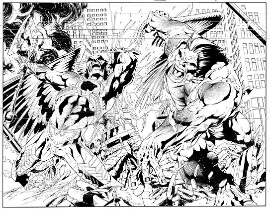 Savage Hawkman #19 Cover -- Dbl Page Cover Spread